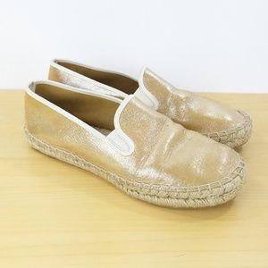 J. Crew Womans Shoes Sz 8 Gold Espadrilles Flats S